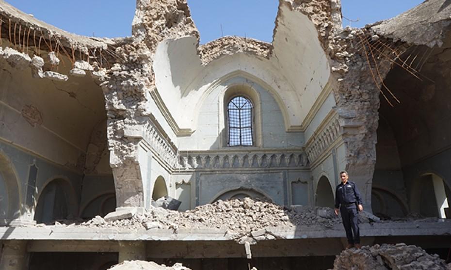 Pascal Maguesyan / MESOPOTAMIA - Avril 2018 : la cathédrale syriaque-catholique al Tahira de Mossoul détruite lors de la bataille de Mossoul (Irak)