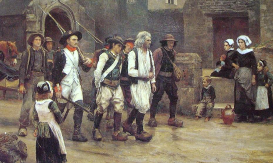 Wikimédia Commons -  Les révoltés du Fouesnant ramenés par la garde nationale de Quimper en 1792, par Jules Girardet (XIXè siècle)
