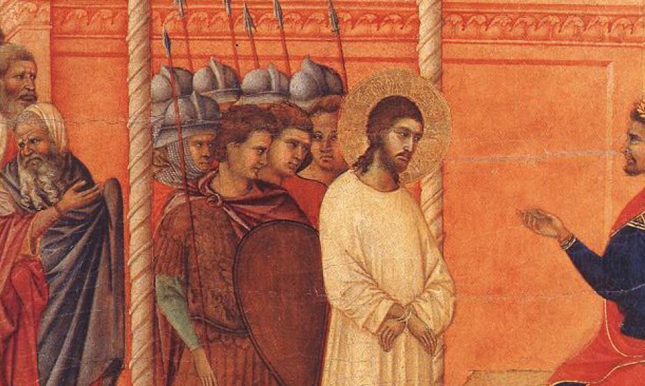 """éditionsNOUVELLECITÉ / Jésus devant Pilate, détail de """"La Maestà"""", par Duccio di Buoninsegna, XIV° s., Sienne (Italie)"""