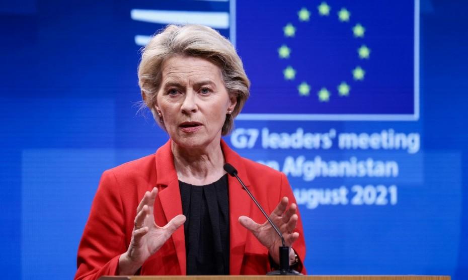 La présidente de la Commission européenne Ursula von der Leyen au G7 sur l'Afghanistan, le 24/08/2021 ©Kenzo TRIBOUILLARD / AFP